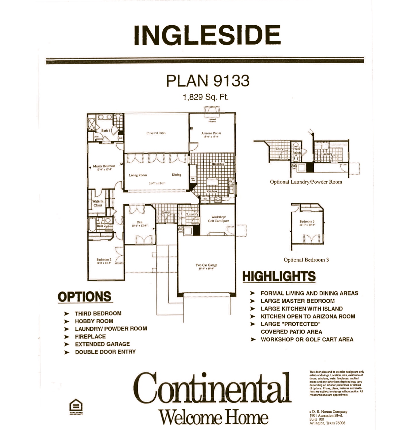 Arizona Traditions Floor Plans – Continental Homes Of Texas Floor Plans